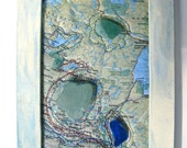 Altered Map Art - Water on the Prairies Altered Map Art with Beach Glass - Mixed Media Art