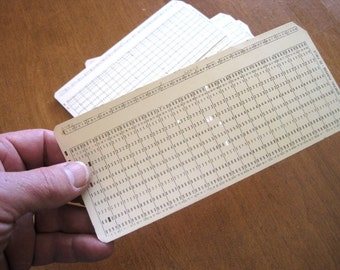 Vintage Computer Punch Card - Data Processing Cards