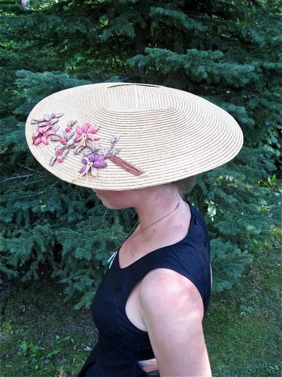 Garbo Style Straw Skimmer Coolie Hat