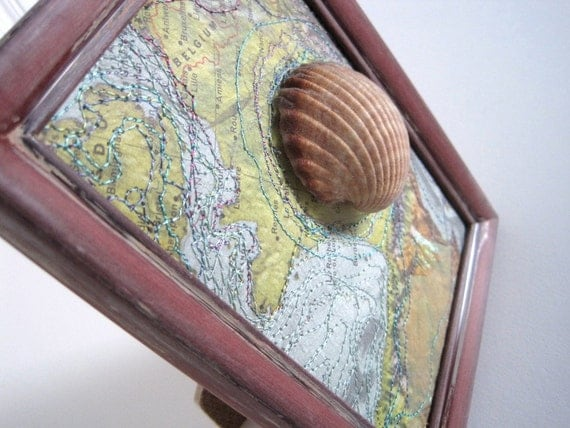 Mixed Media Art  - Camino Altered Map Art with Shell - The Way Pilgrimage Art - 5 x 7 inches