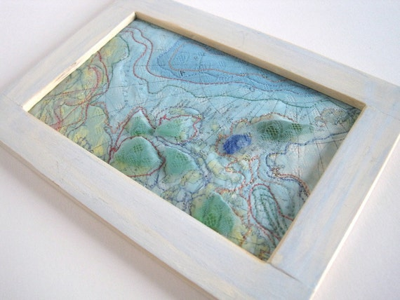 Mixed Media Art  - Altered Map Art with Beach Glass - 5 x 7 inches - Sea Glass Art