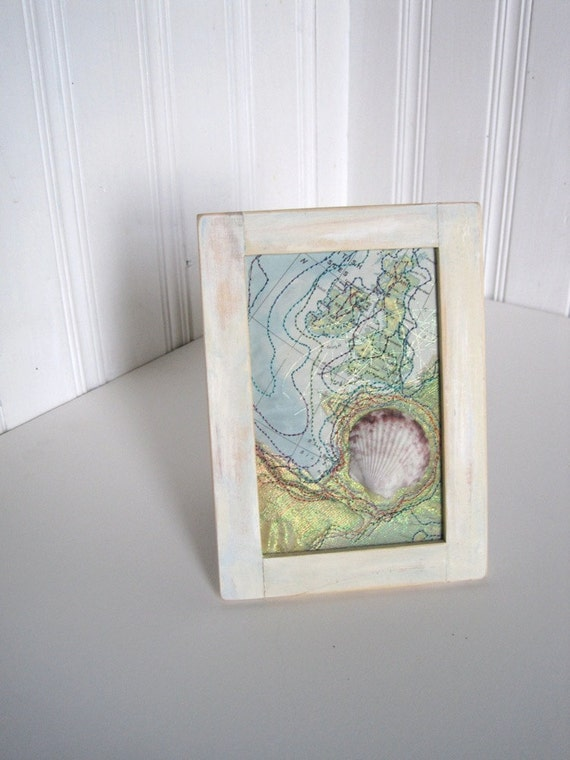 Mixed Media Art  - Camino Pilgrim Altered Map Art with Shell - The Way Pilgrimage Art - 5 x 7 inches