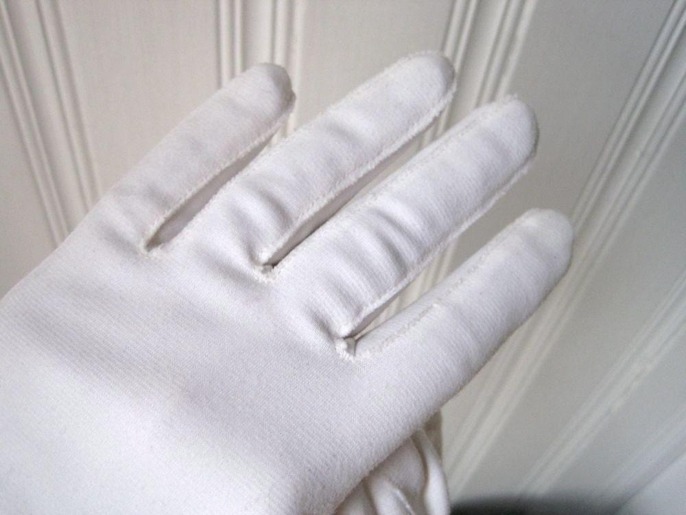 Long White Gloves Size 7 Vintage Nylon Gloves White by ...