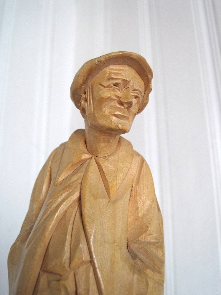 Old Man Wood Carving Wooden Statue Hand Carved Wood Statue