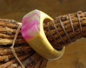 I Think of Spring Ring - Pink and Green on Yellow - Size 9