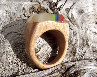 Square Birch Ring with Captured Rainbow Yarn Bits Size 8.5 or Customized Fit