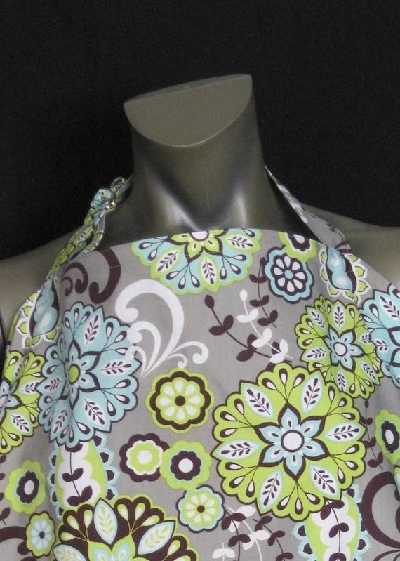 Nursing cover up, breastfeeding blanket modern flowers