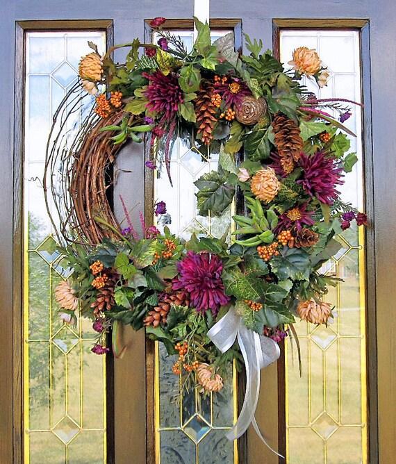 FALL WREATH Silk Flower Arrangement Wall Decor by ... on Silk Flower Wall Sconces Arrangements id=91043