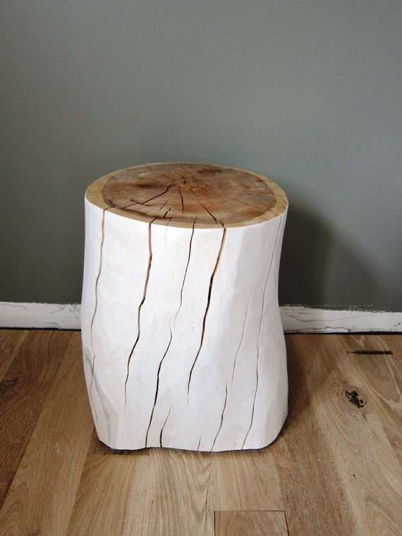 Items Similar To Reserved For Jim: White Oak Tree Stump Stool Or Side Table  On Etsy