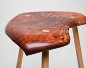 Carved Walnut and Maple Stool