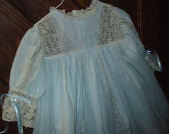 SALE Heirloom dress size 4 blue/ecru Hand embroidery Holiday Pageant Portrait  French lace Wedding Graduation Portriat Flower girl