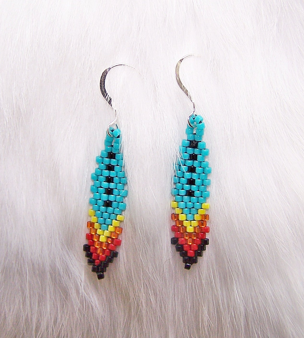 Native american inspired turquoise feather earrings southwest for Native american feather jewelry