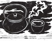 Tea Set - Original Linocut Print