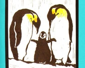 5 Penguin Notecards on Turquoise