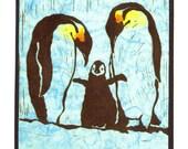 5 Penguin Notecards on White