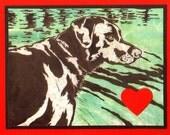 5 Labrador Valentine's Day Heart Cards