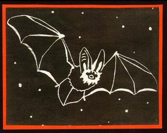 5 Bat Halloween Notecards on Black