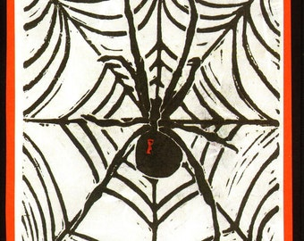 5 Spider Halloween Notecards on Black