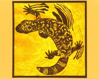 5 Gila Monster Notecards on Yellow or Brown