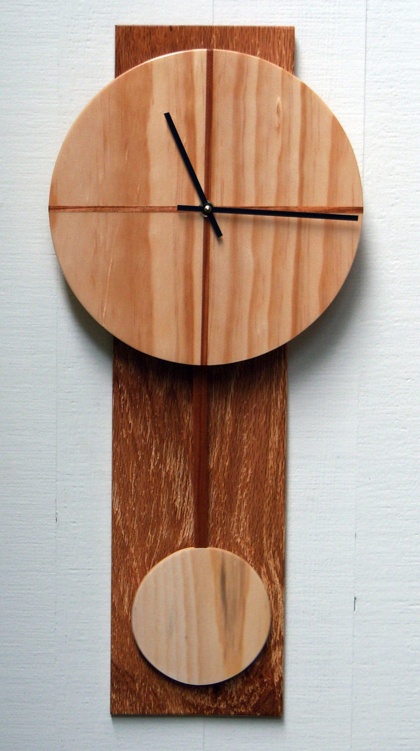 Modern wood wall clock with pendulum by djwubs on etsy - Contemporary wall clocks with pendulum ...