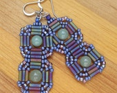 Bead woven adventurine earrings