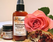 Anti Wrinkle Organic Facial Kit Rejuvenate with Rose Pomegranate MSM DMAE for Dry and Mature Skin