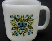 Vintage Summer Blueberry Milkglass Mug