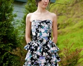 VTG 80s Byer Too Floral Sweetheart Strapless Ruffle Dress XS/S