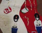Vintage Felt Soldier Christmas Stockings Set/2...Cute Addition to Your Mantel