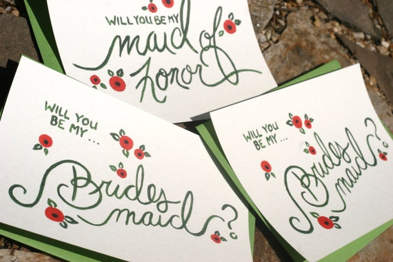 Will you be my Brides Maid, Maid of Honor Stationary - Painted Typography, Wedding, Brides Maid