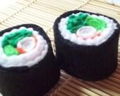 Two Boston Roll Felt Sushi Toys