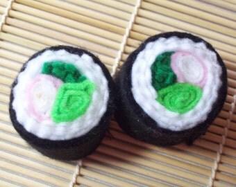 Two California Rolls (No. 2) Felt Sushi Toys