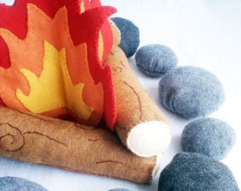 READY TO SHIP! Felt Campfire Plush Playset- flames, logs and rocks