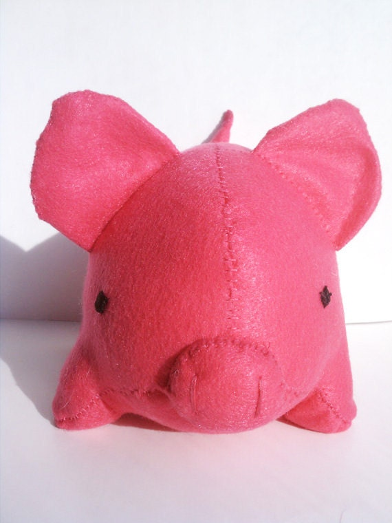 Large hot pink pig stuffed animal