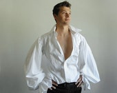 Pirate Shirt  (Size 15.5 neck, 34/35) - Upcycled, Buttonless collar