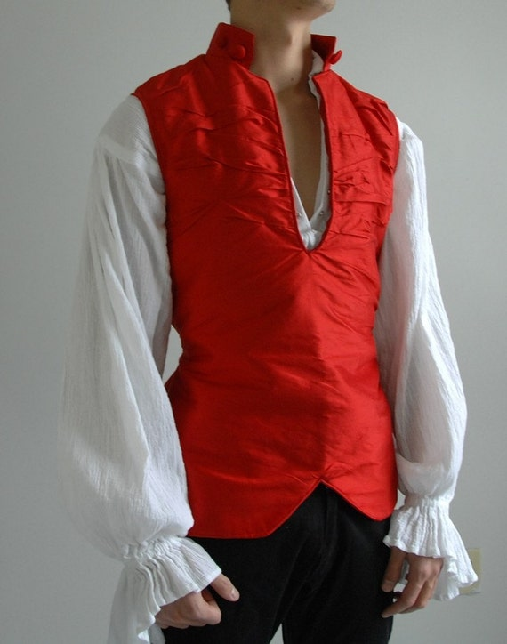 Red Crumpled Silk Vest, 18th Century or Steampunk, Small