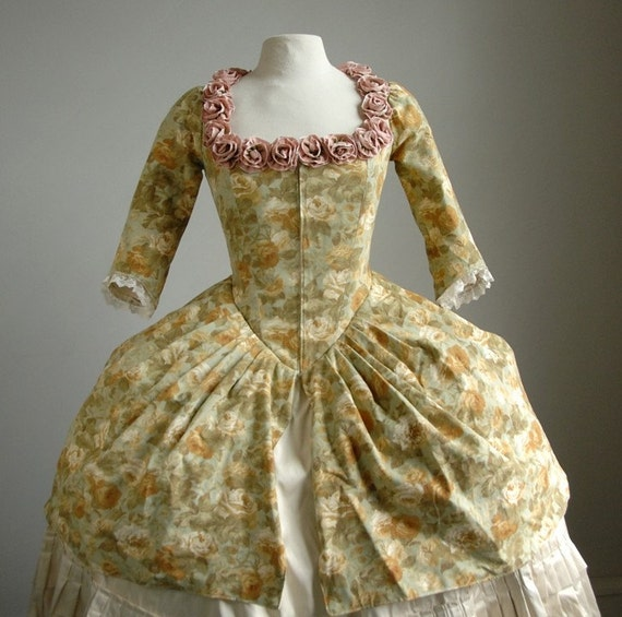 SALE - Green Print Polonaise Style Bodice and Attached Skirt with Ribbon Flowers, 18th Century