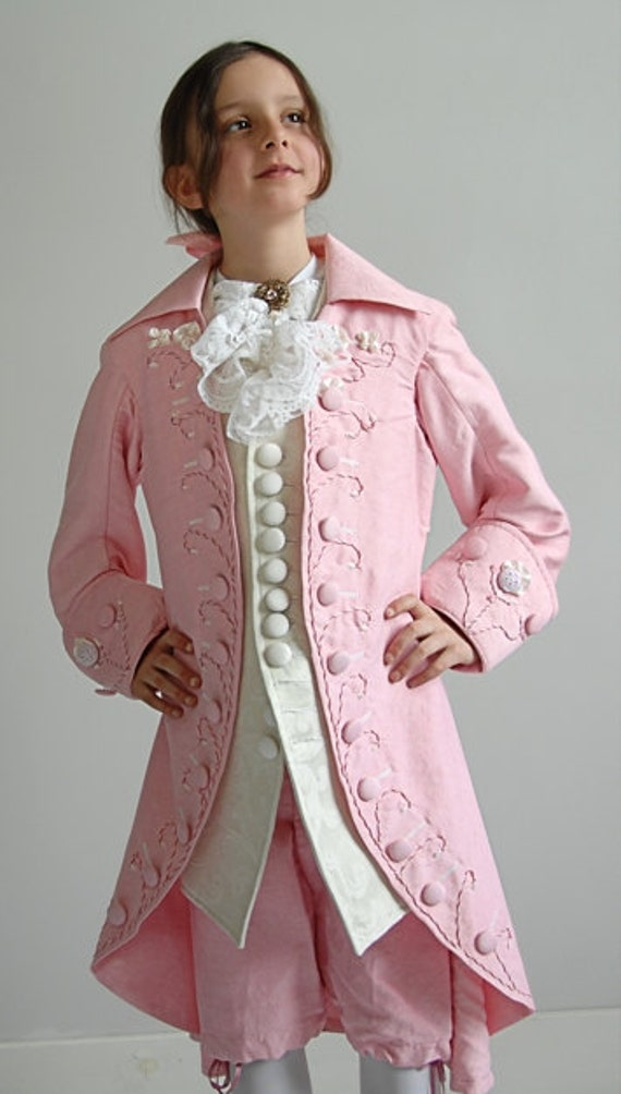 Pink Silk Rococo Boys Outfit with Hand Embroidery - Jacket, Vest, Knee Pants (Children's Size 8)