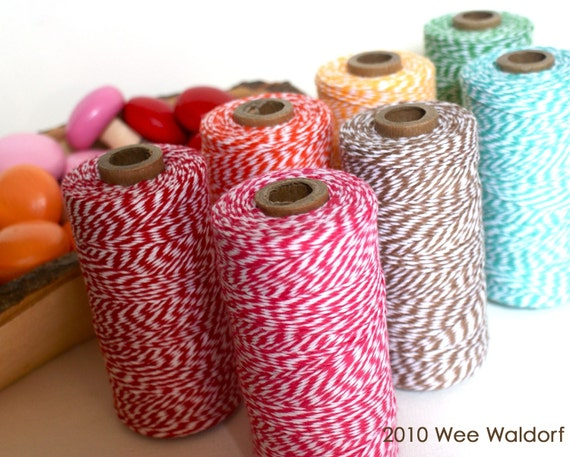 BIG and Bright Stripey Twine Spool. Single. 240 Yards. Choice of Color.