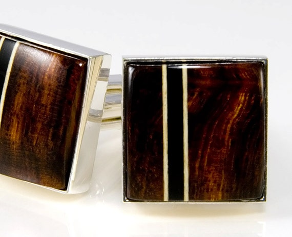 Desert Ironwood Silver Cufflinks - Wood Cuff Links - Custom Cufflinks - Best Man Gifts, Groomsmen Gifts, Wedding Party Gifts,