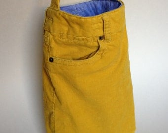 The UP-POCKETS Yellow bag made from upcycled J Crew corduroy pants by ejhern