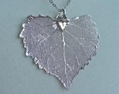Silver Cottonwood Leaf Necklace - Genuine Leaf - gift, birthday, wife, daughter, sister, daughter, bridesmaid, romantic