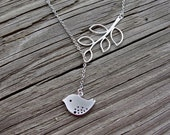 Silver Birdy Dangle Lariat - gift, wife, mother, sister, daughter, girlfriend, bridesmaid, expectant mother, friend, romantic, birthday, mom