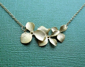 Golden Orchid Trio Necklace - gift, mother, birthday,  romantic, wife, sister, daughter, bridesmaid, delicate, feminine, friend