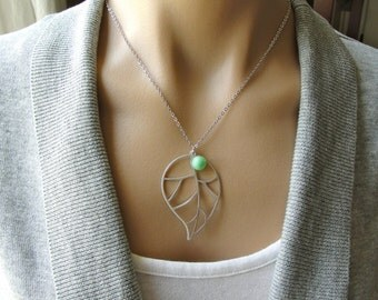 Silver Open Leaf in Green Necklace -  gift, mother, sister, daughter, bridal, wife, birthday, friend, organic, bridesmaid, graduation