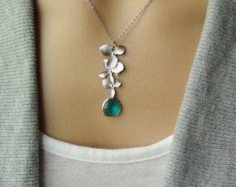 Silver Orchid Trio Drop in Sea Green - gift, Christmas, wedding, mother, sister, daughter, evening, wife, birthday, romantic, friend