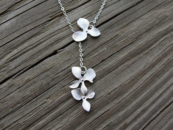 Silver Orchid Dangle Lariat