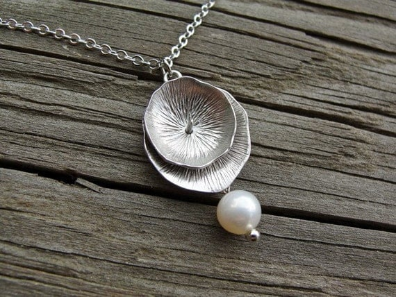 Silver Lotus Leaf with Pearl - Swarovski pearl - gift, wife, mother, bridesmaid, sister, daughter, graduation, friend, birthday