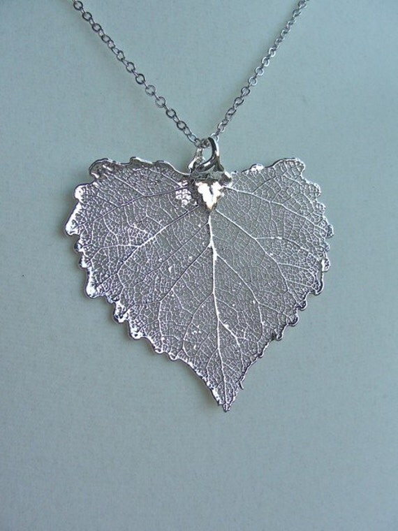 Silver Cottonwood Leaf Necklace - GENUINE Leaf -  gift, birthday, wife, mother, sister, daughter, bridesmaid