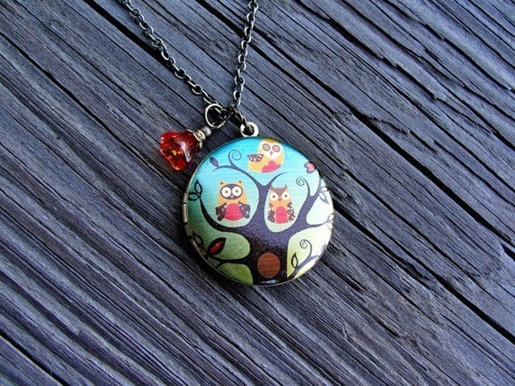 Sweet Mod Owl Trio Locket Necklace - mother, family, love, gift, birthday, daughter, wife, sister